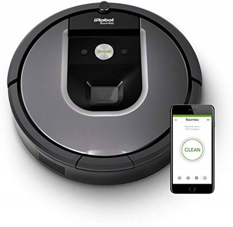 iRobot Roomba 960 Robot Aspirapolvere, Sistema di Pulizia Dirt Detect, Spazzole Tangle-Free, per Pavimenti e Tappeti, Ottimo per i Peli degli Animali Domestici, Wi-Fi, autonomia: 75 min, Argento